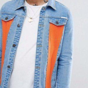 Stonewash denim jacket with orange panels size m